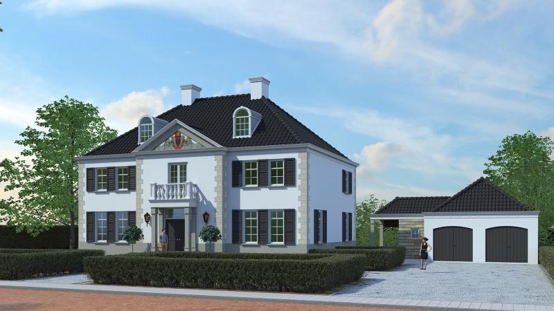 3D impressie villa Buitenzicht