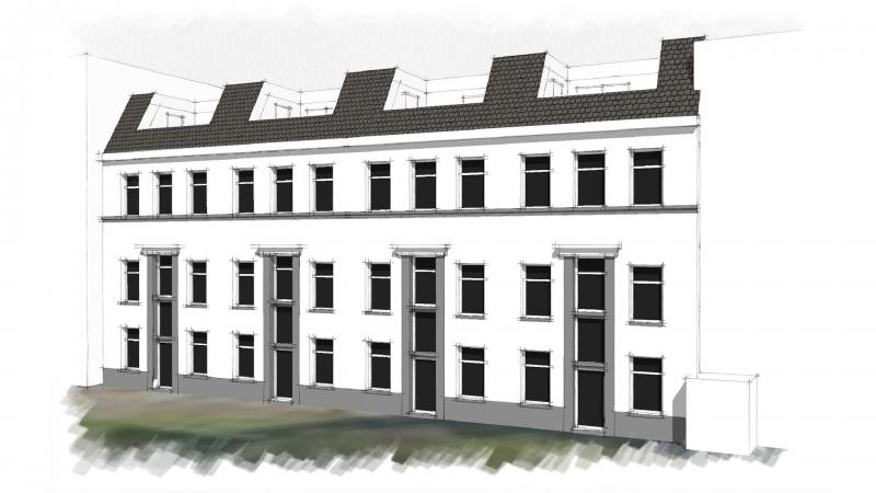 3D impressie achtergevel energieneutrale woningen Proveniersstraat Rotterdam