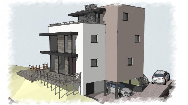 zicht voorgevel met carport en souterrain energieneutrale villa